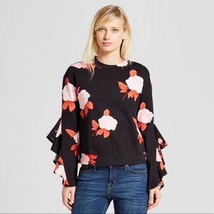 Who What Wear Black Floral Long Ruffle Sleeve Top